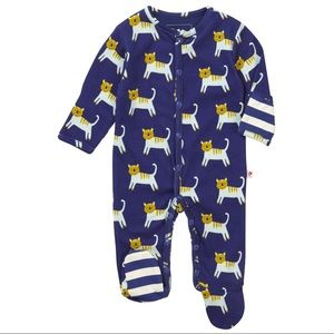 Piccalilly Soft Organic Sleepsuit with Feet Blue Ocean Life All-Over Print